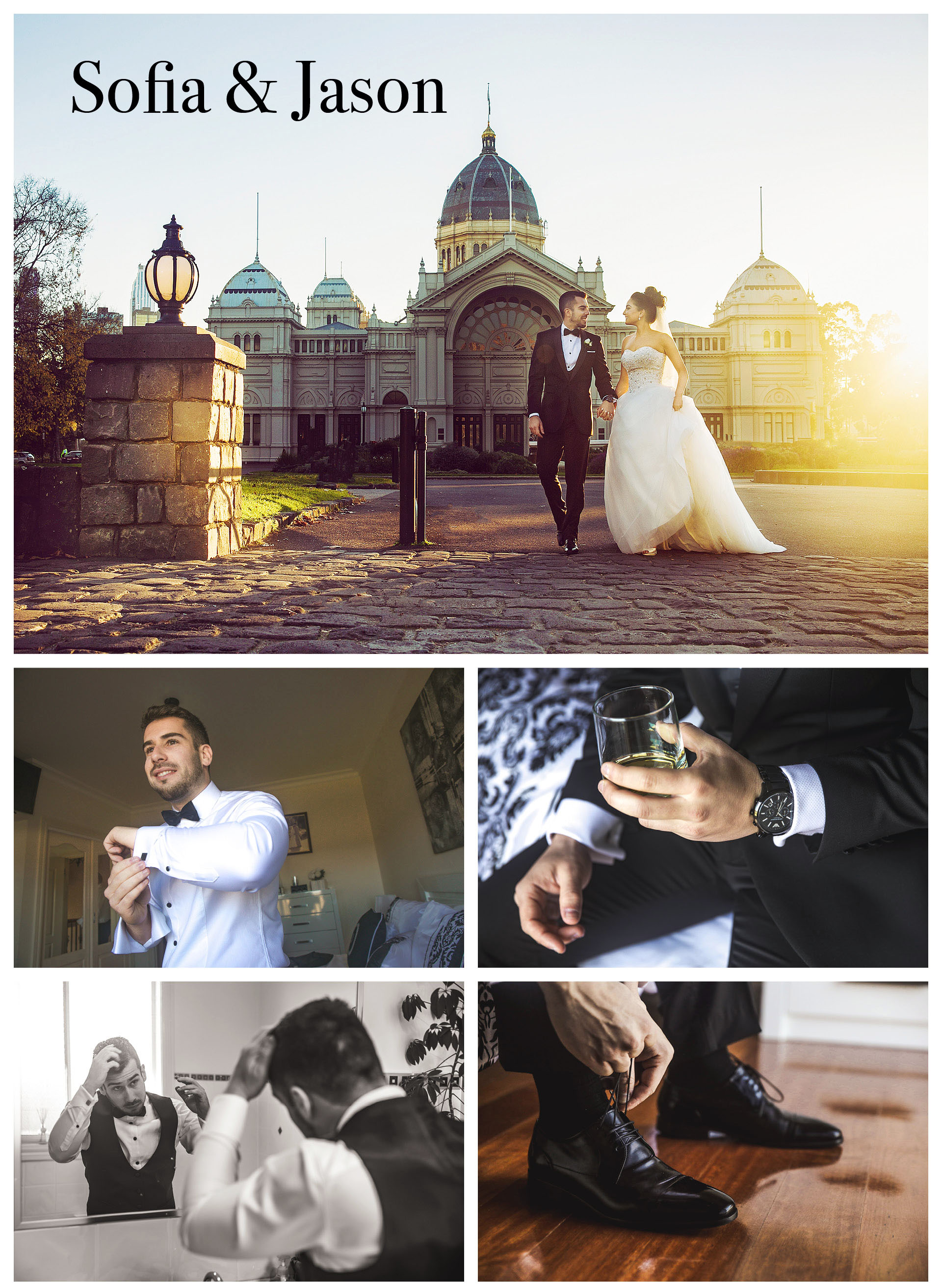 Bride and groom take wedding photos in the front of royal exhibition building at sunset