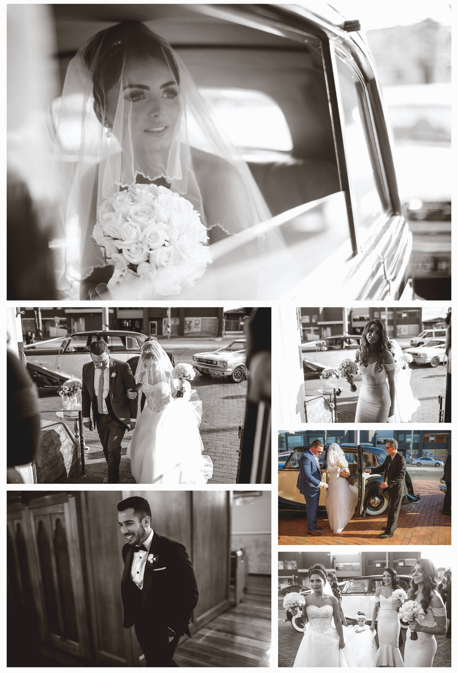 The bride goes to the wedding ceremony in a classic vintage car. Her father picks her up from the car