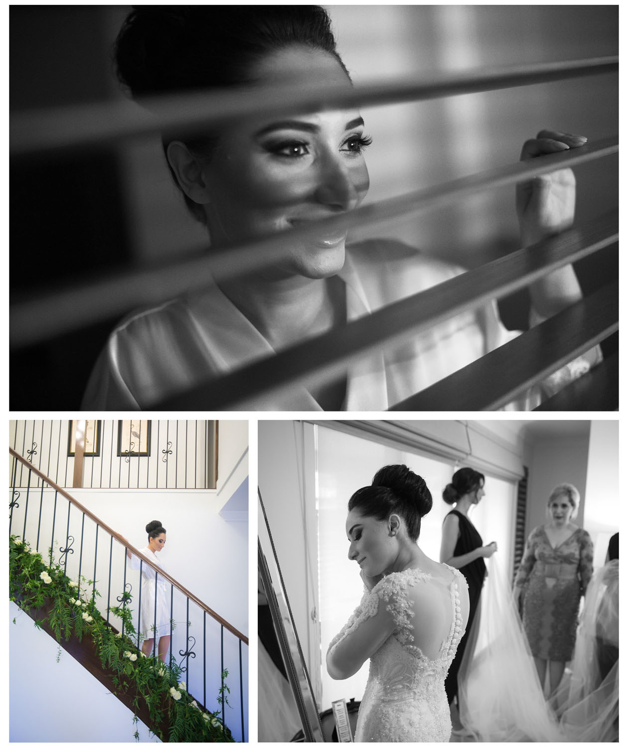 The bride wears earrings in front of the mirror