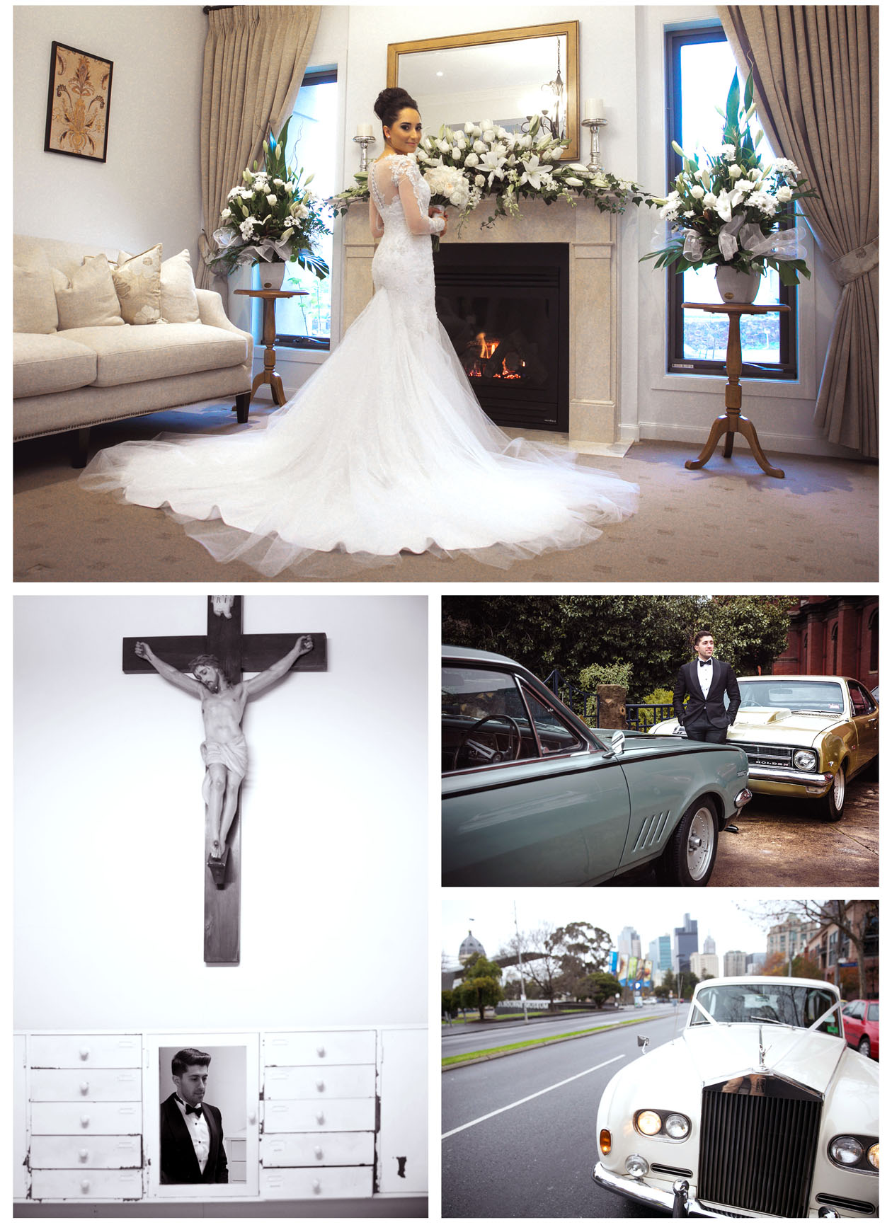 The groom take photos with old classic cars in front of church and his wife stand by him