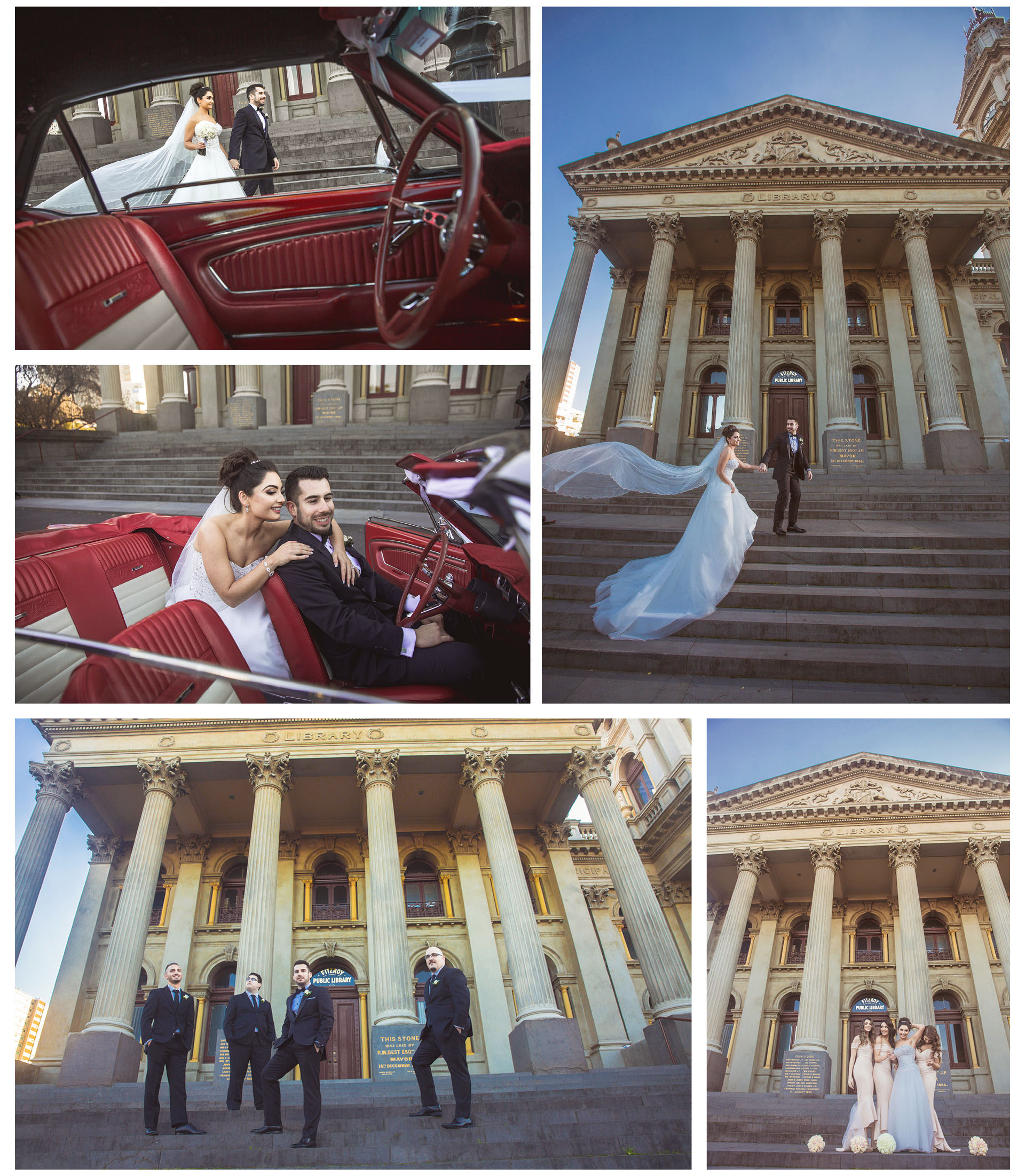 The bride and groom in a classic red convertible car went to the Fitzary town hall to take wedding photos