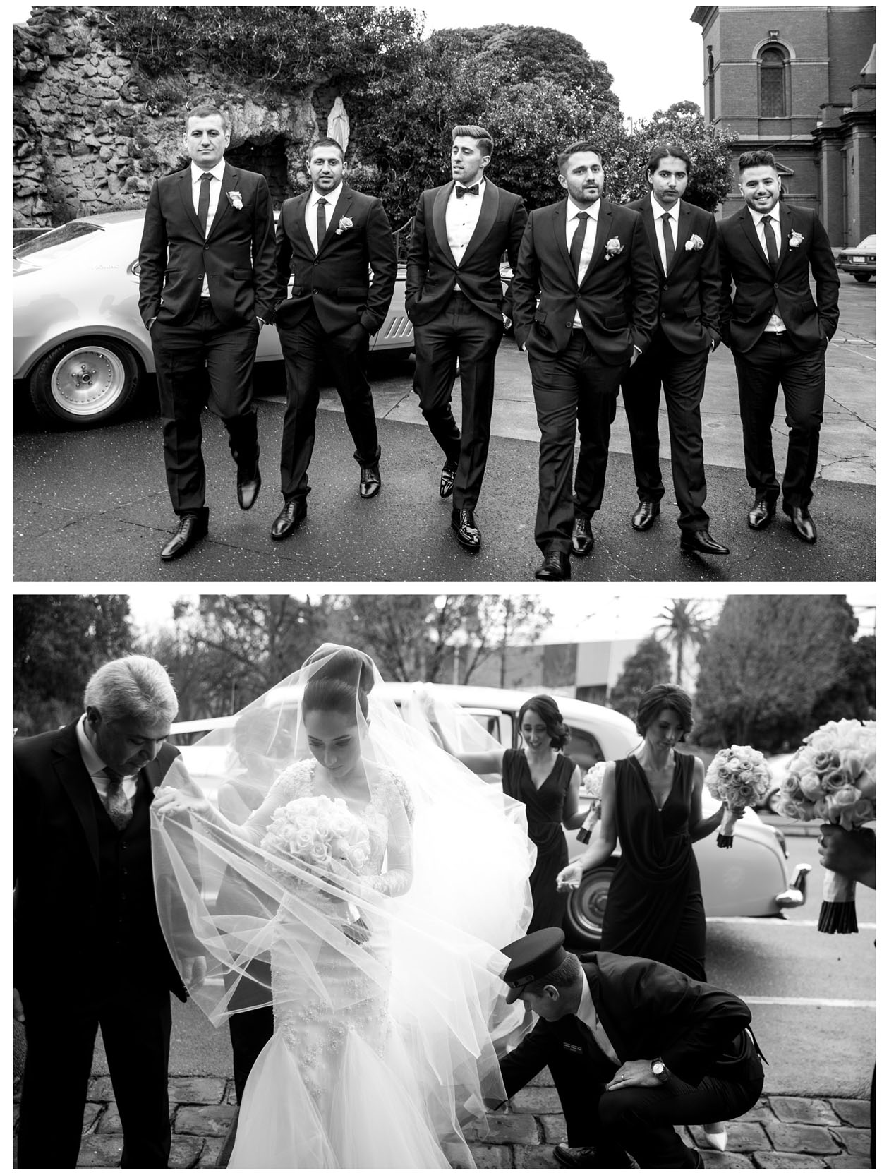 The groom and all groomsman take photos in front of church and bride just arrived with her Dad