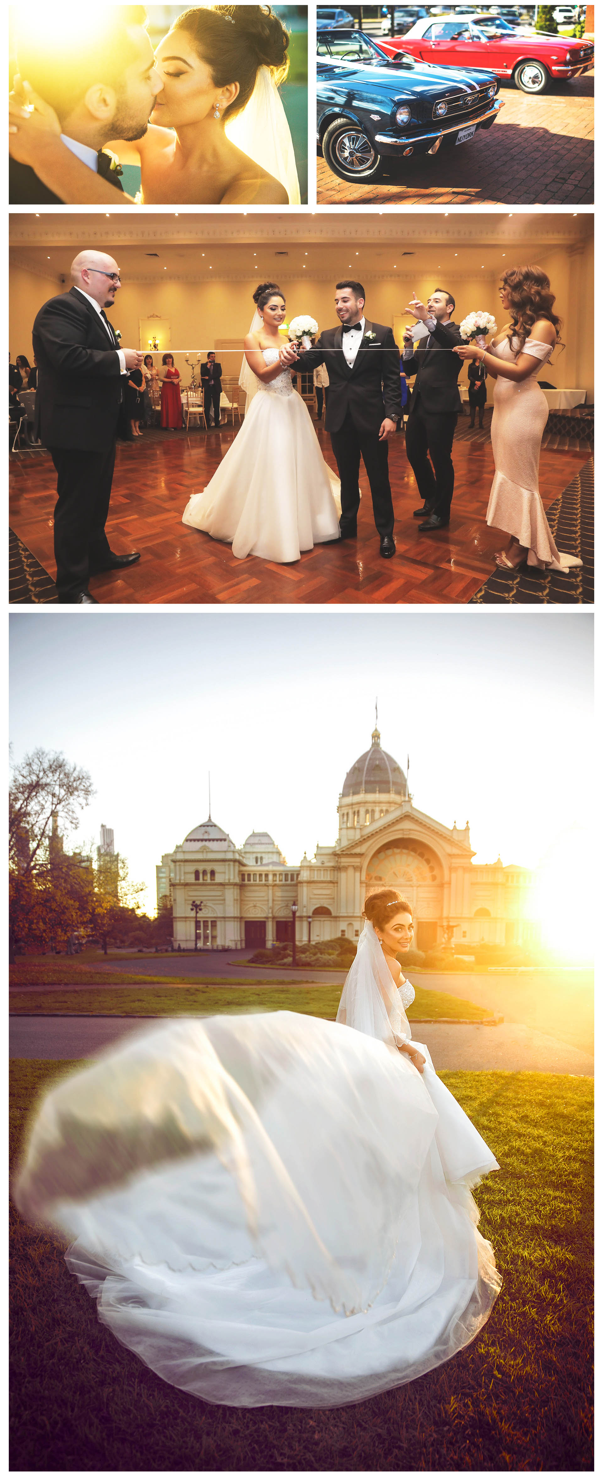 The bride took a sunset photo at the gate of the royal exhibition building