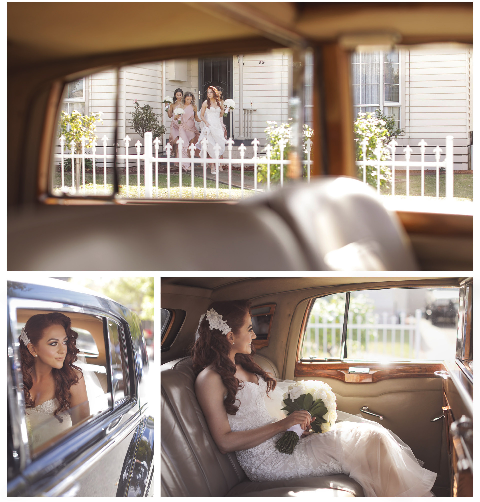 The bride is leaving by a tradional old car from her house