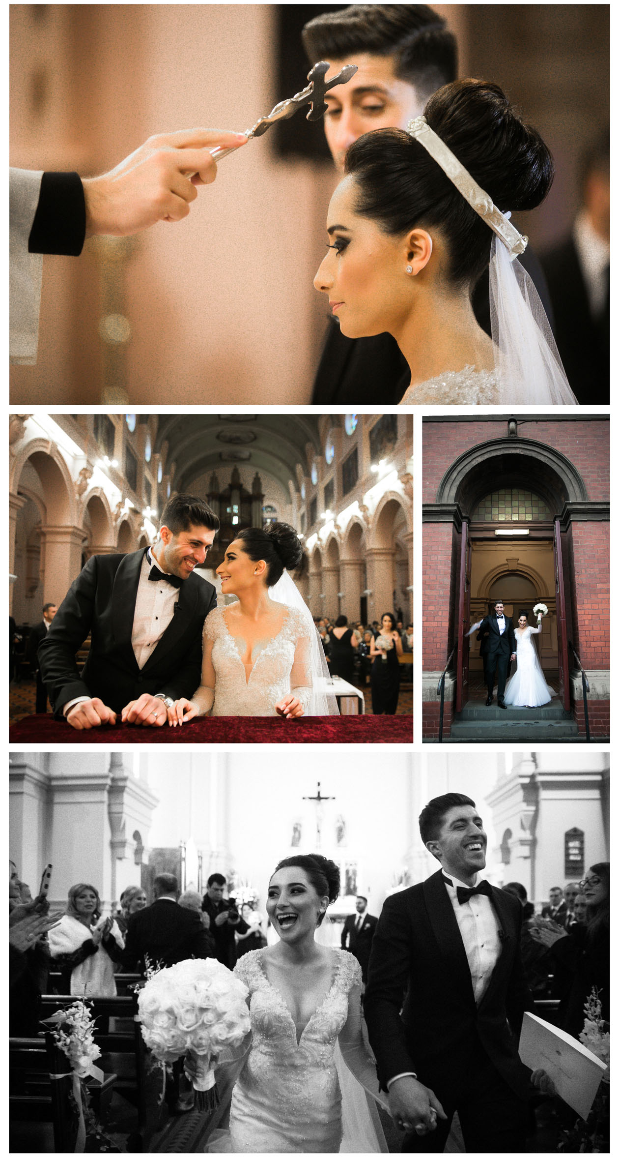 Bride and groom have ceremony in the traditional greek church