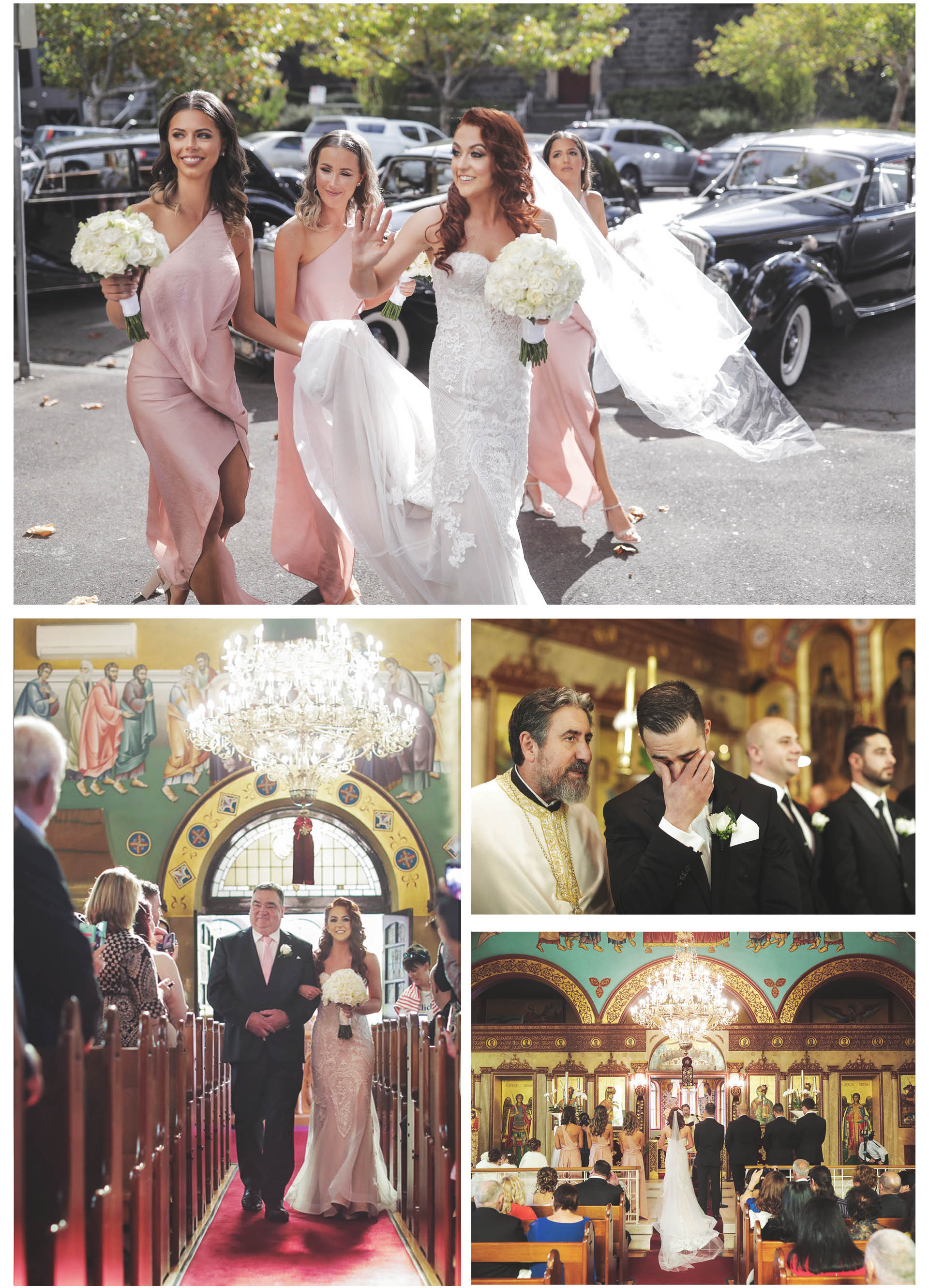 The bride and groom arrived at the traditional greek ceremony in the greek orthodox church