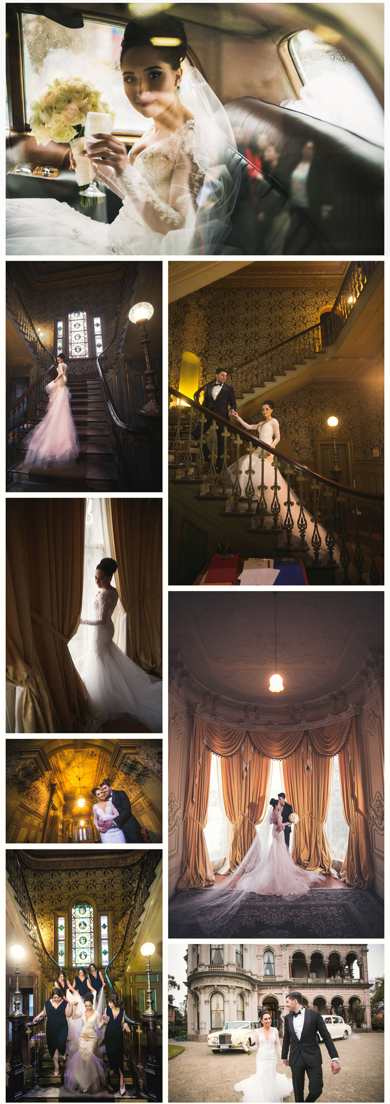 The Bride with the long wedding dress take photos with groom in Labassa mansion