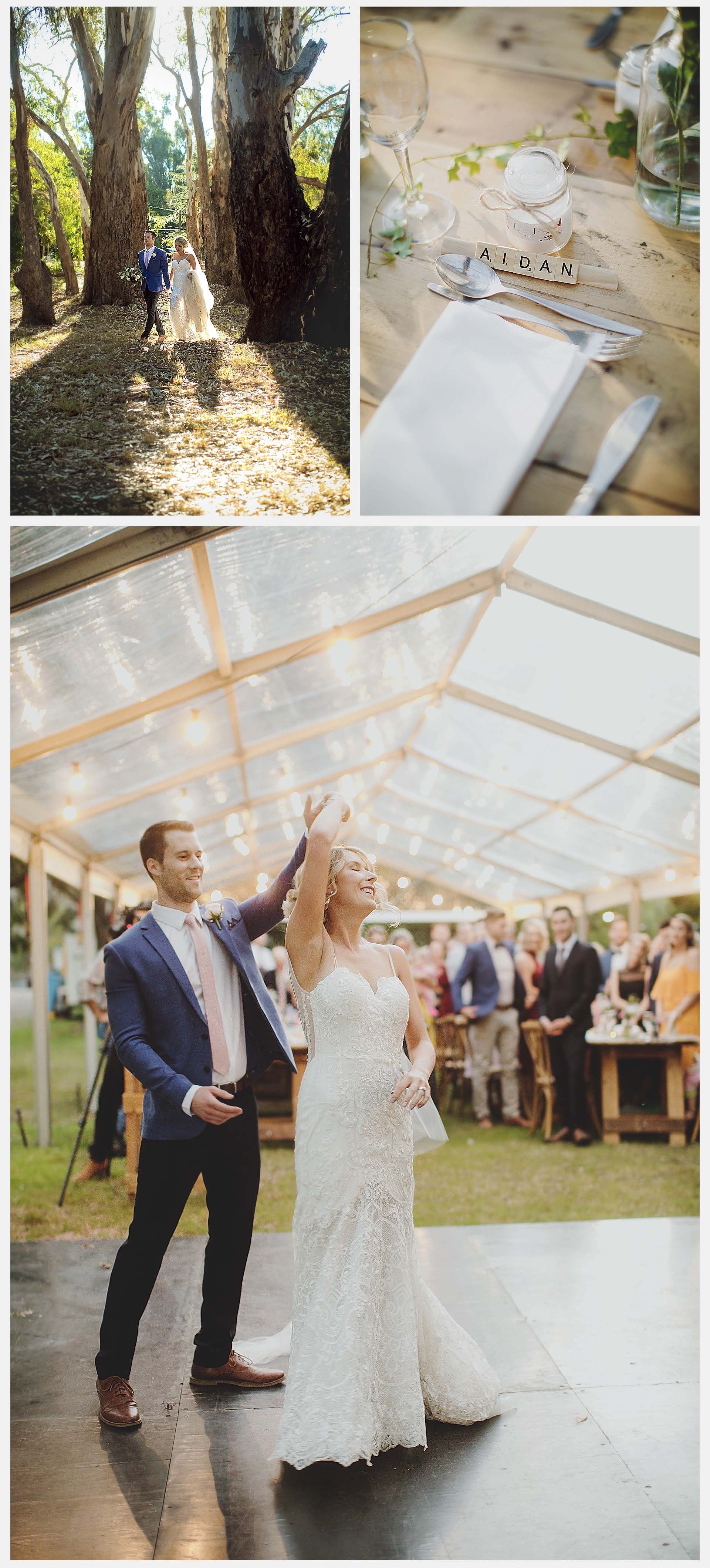 The happy couple have the first dance after the husband and wife in the blessing of the guests and the sunset