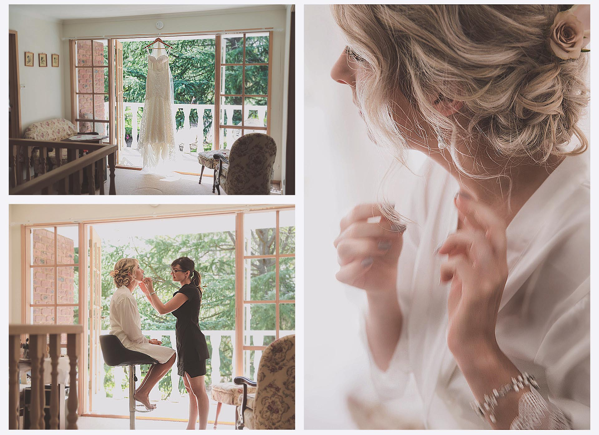 Makeup artist and stylist prepare for the bride before the wedding