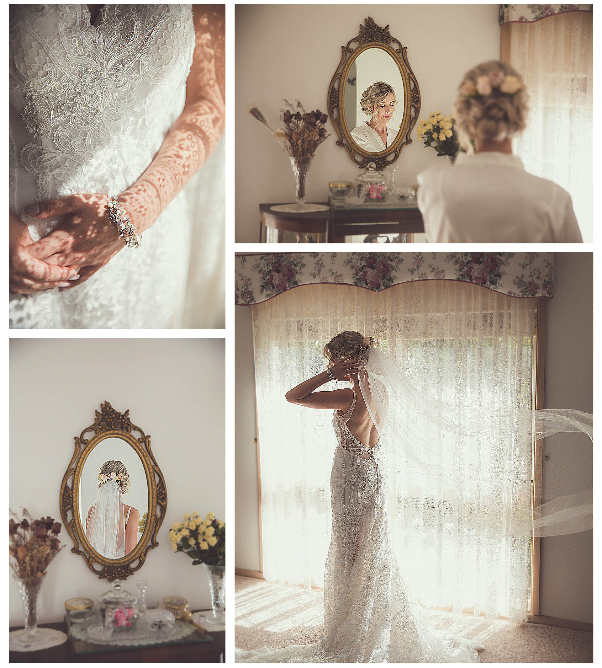 The bride looks at herself in the mirror and dresses very beautifully