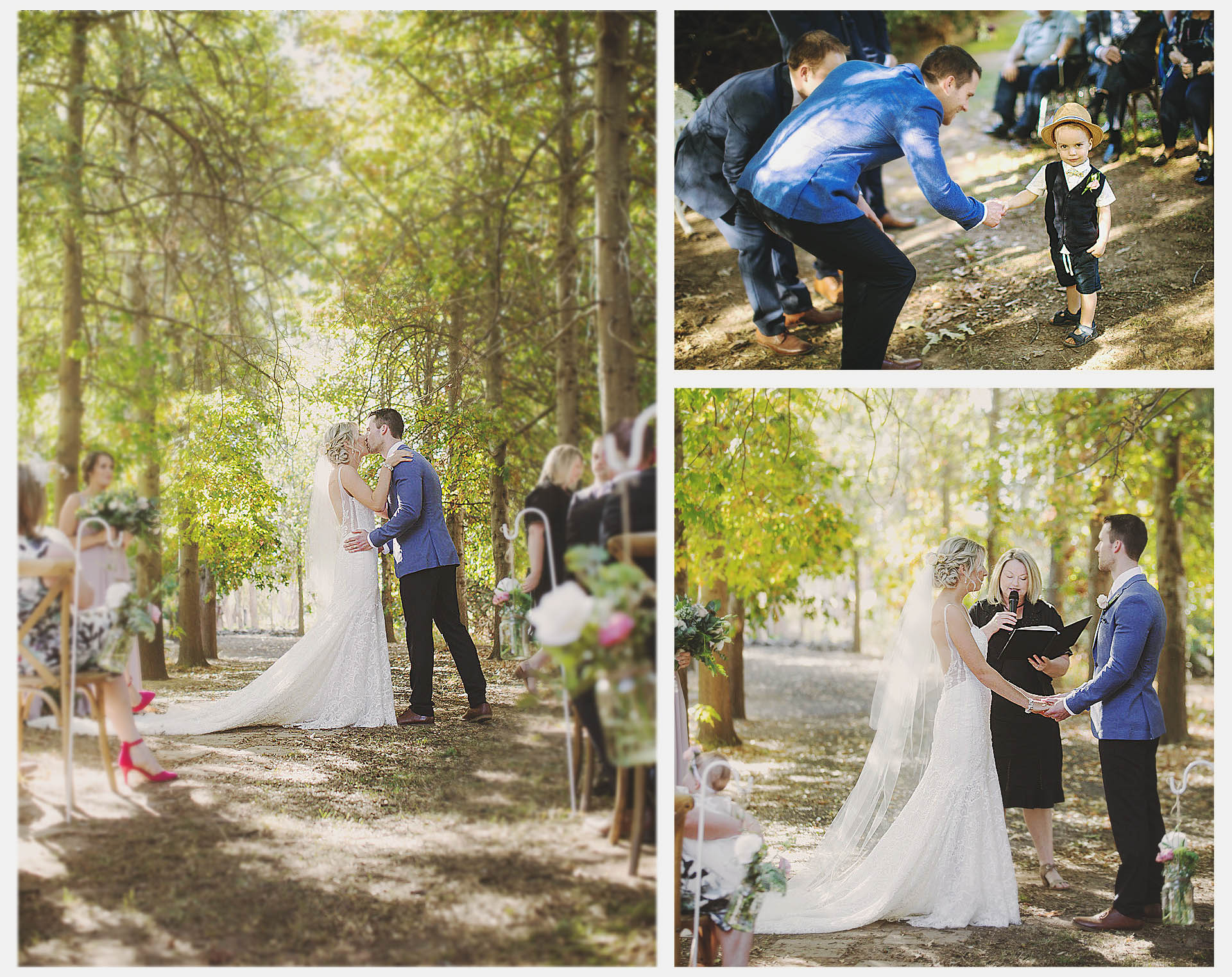 In the wedding ceremony the cute little ring bear handed the ring to the bestman