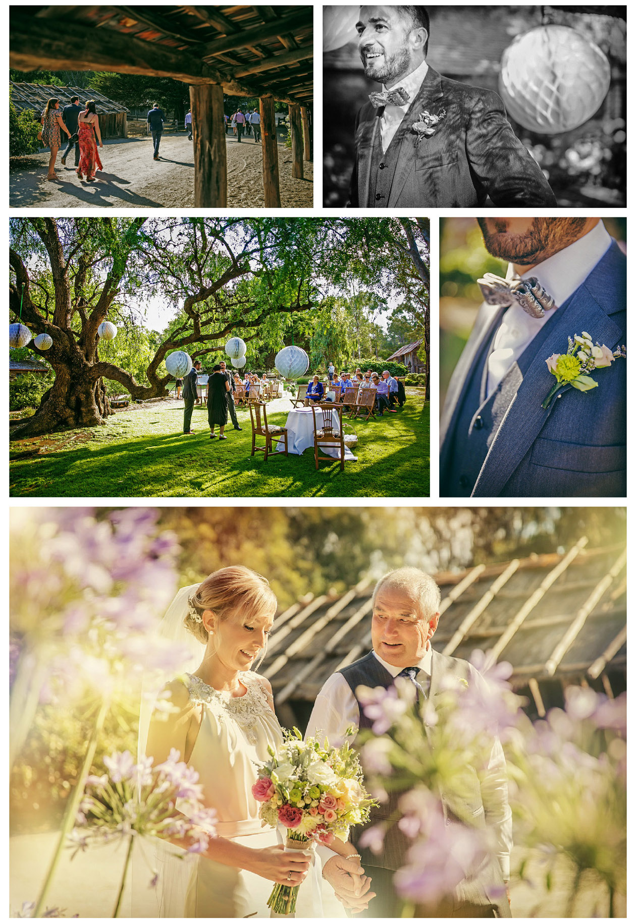 The groom and his guests wait for the beautiful bride to enter the wedding ceremony at Emu Bottom Homestead