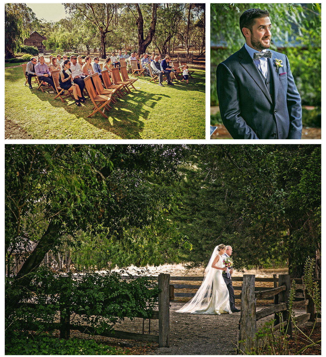 The groom and his guests are waiting for the beautiful bride to enter the wedding ceremony at Emu Bottom Homestead