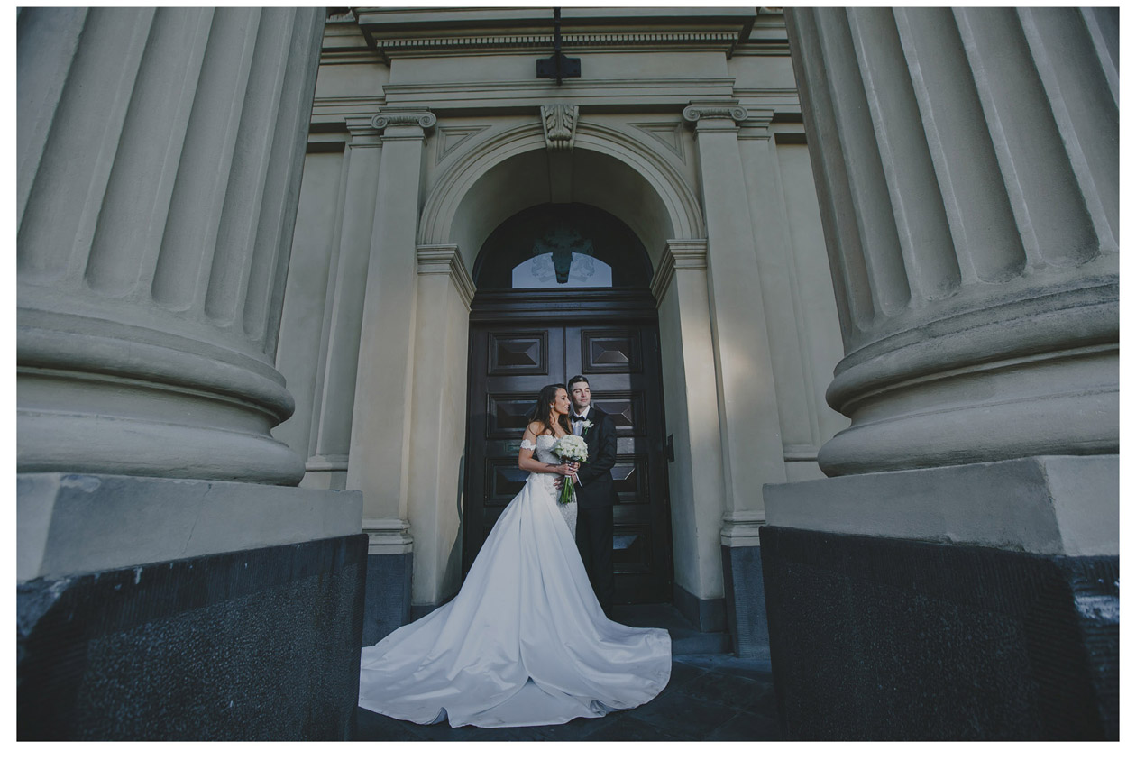 The groom and the bride went to south Melbourne townhall to take pictures before the wedding reception