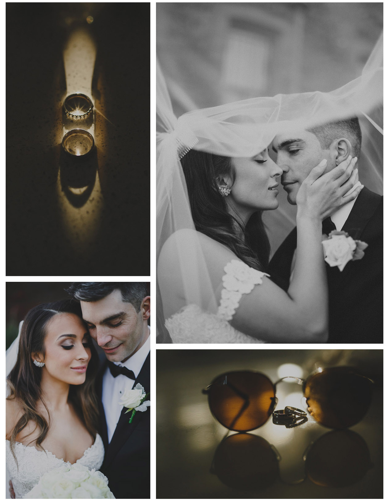 Bride and Groom kiss under the veil with beautiful rings