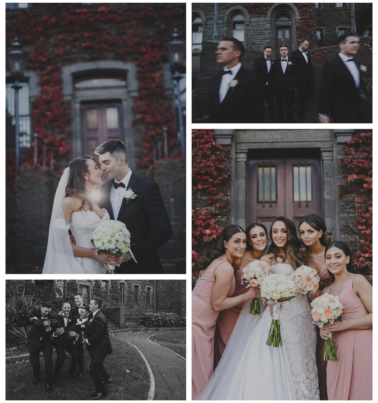The groom and the bride went to south Melbourne Town hall and Victoria Army Barracks to take wedding photos before the wedding reception