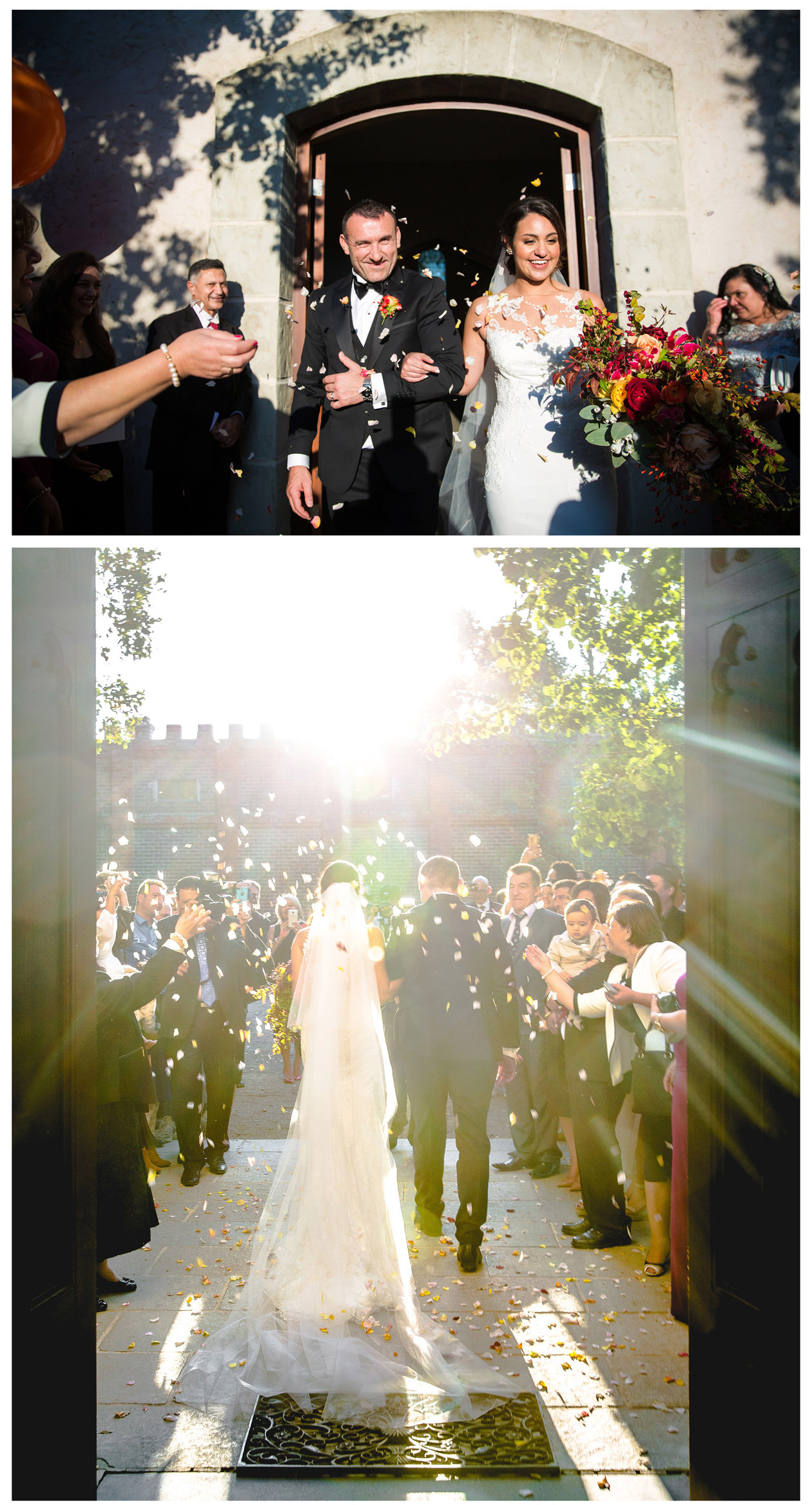 The Macedonian girl with a white veil and her Macedonian groom took a beautiful wedding photo in Stones of the Yarra Valley in the golden autumn
