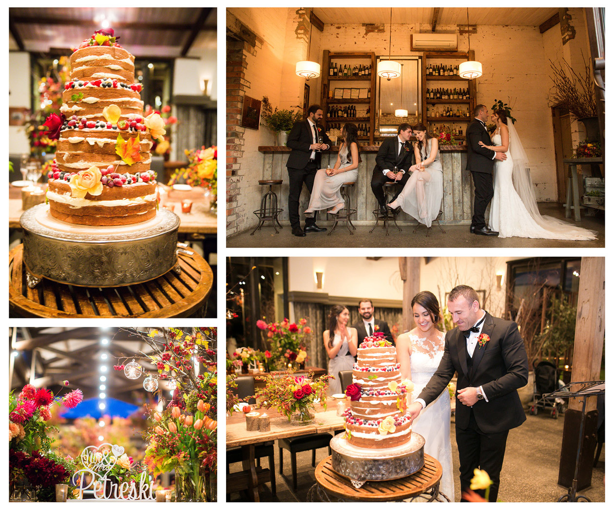 The beautiful Macedonian girl and her Macedonian groom cut their wedding cake representing happiness on the reception of the Stone of Yarra Vally and the surrounding is full of beautiful flowers