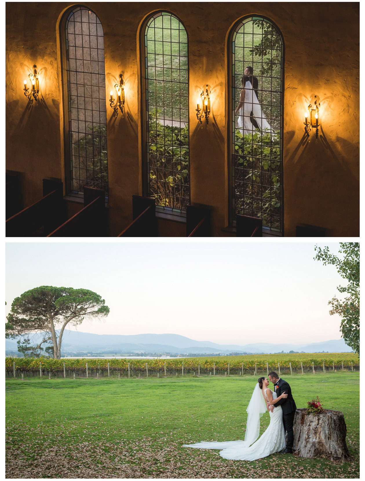 The handsome Macedonian groom and the beautiful Macedonian bride took many interesting and creative wedding photos after their wedding in Stones of the Yarra Valley