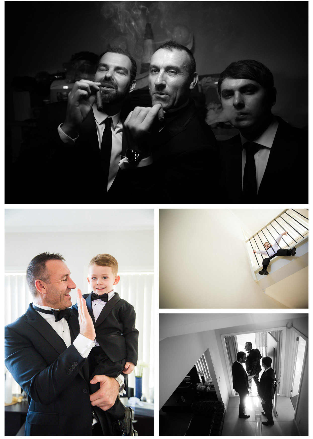 The handsome Macedonian groom took a lot of creative wedding photos with his best man before the wedding in Stones of the Yarra Valley