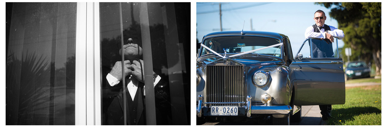 The handsome Macedonian groom photographed many wedding photos with his classic wedding car before the ceremony in Stones of the Yarra Valley