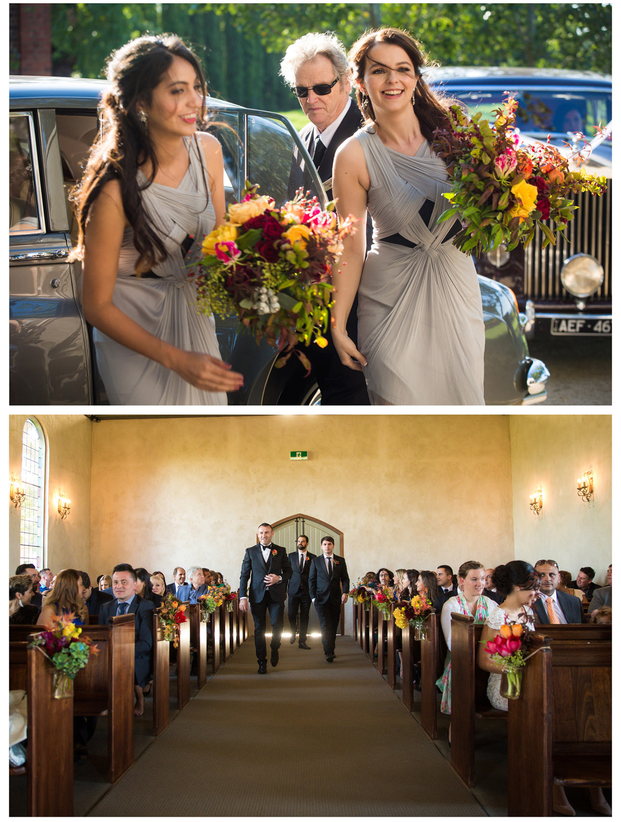 The handsome groom and the beautiful bridesmaid walk into the chapel of Stones of the Yarra Valley under the golden light of autumn