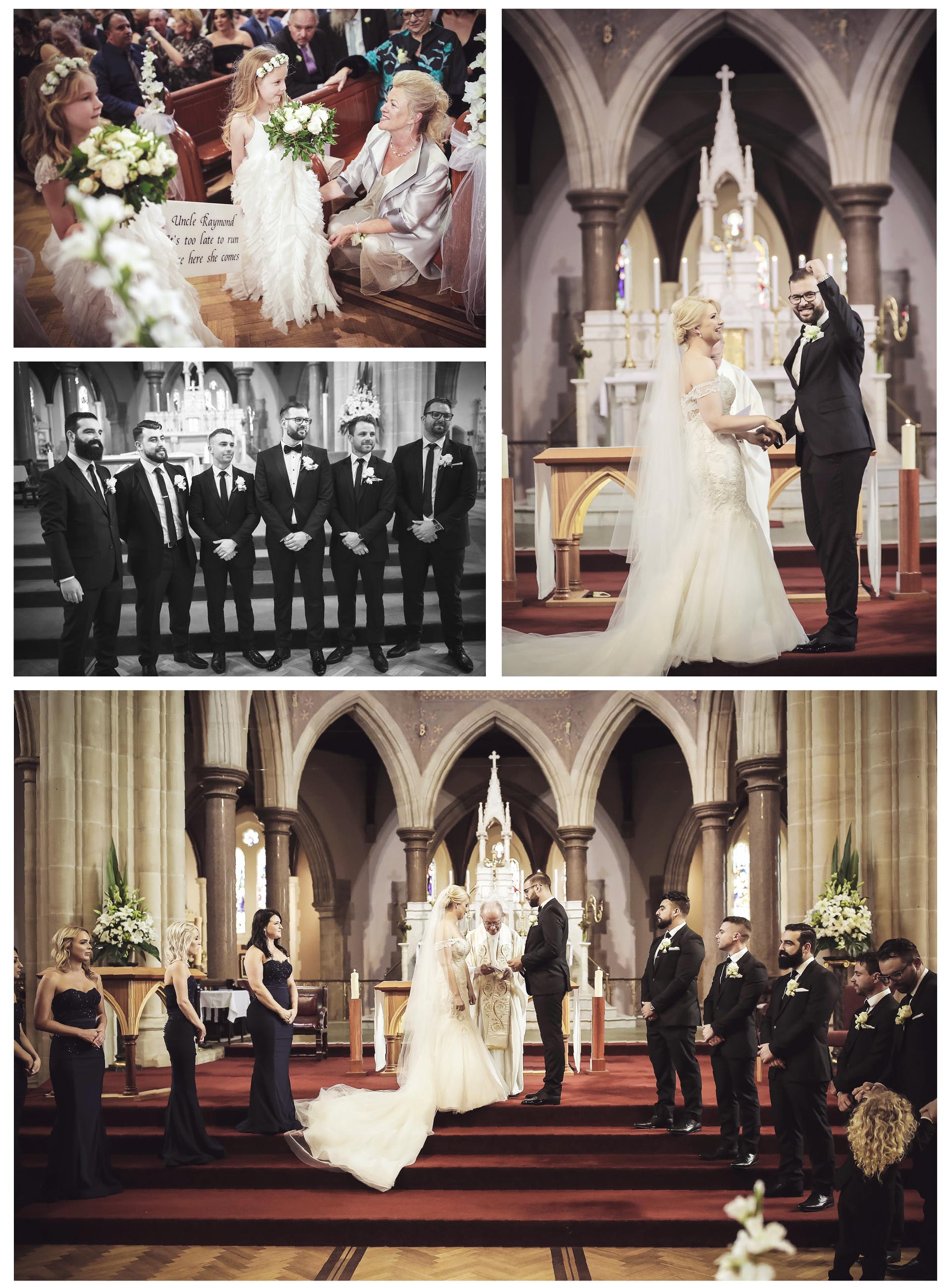 The groom and the bride get married in the church with the blessings of everyone