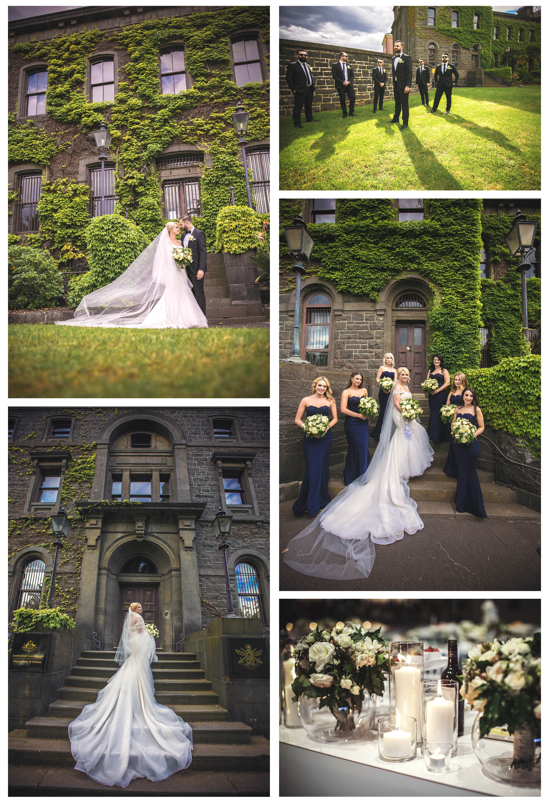 The bride and Groom went to the Victoria Army Barracks to take photos before Leona By The Yarra reception