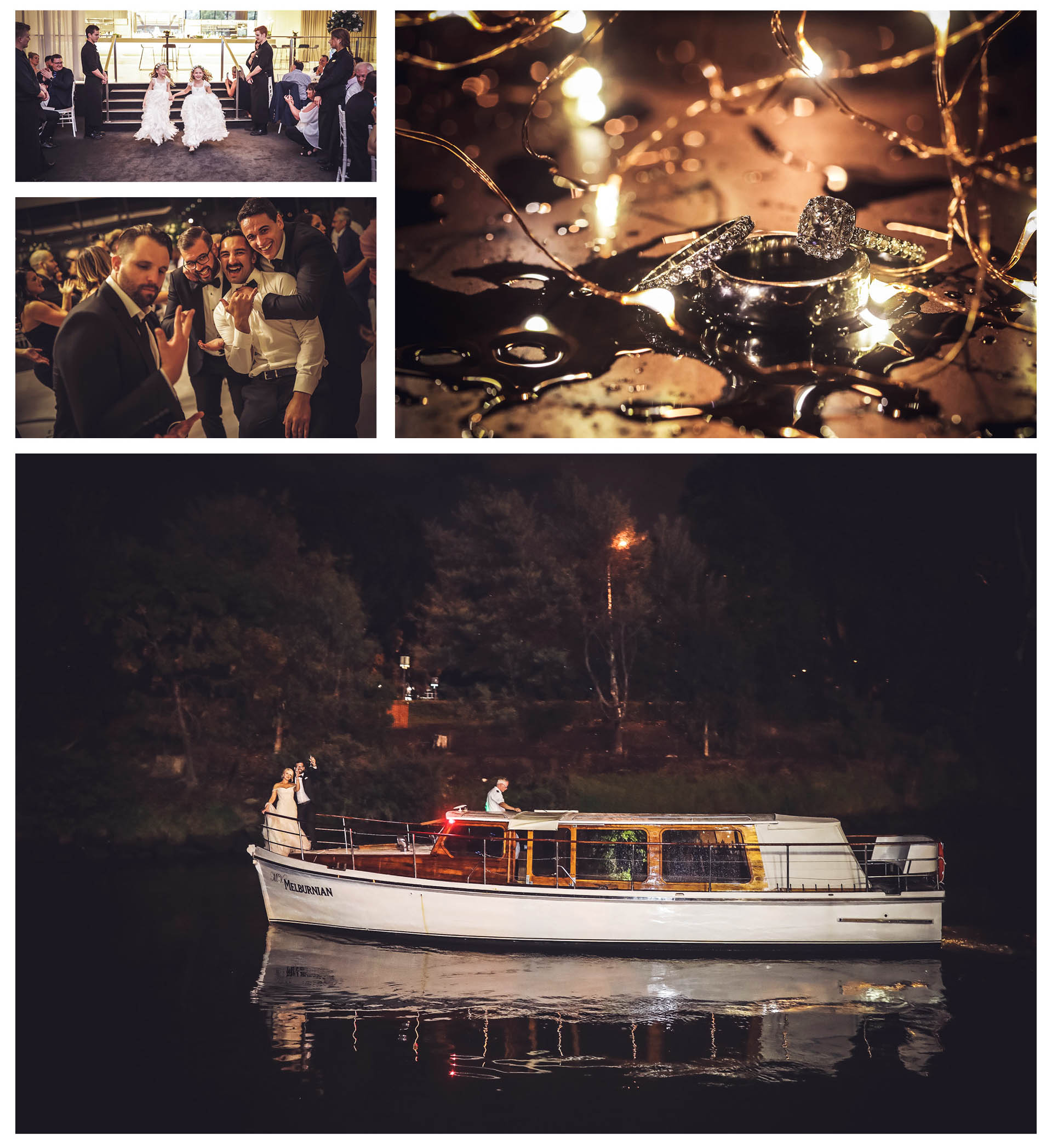 The bridegroom and bride left Leonda By The Yarra by boat under the blessing of the guests accompanied by the laughter of everyone